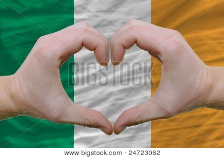 Heart And Love Gesture Showed By Hands Over Flag Of Ireland Background