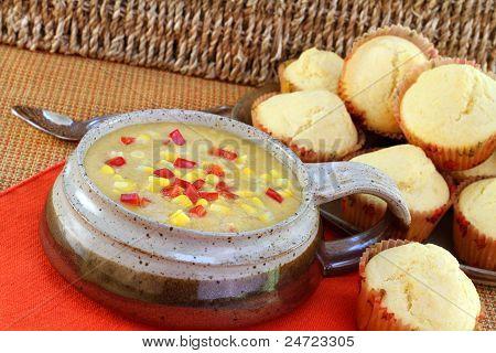 Healthy Corn Chowder With Muffins