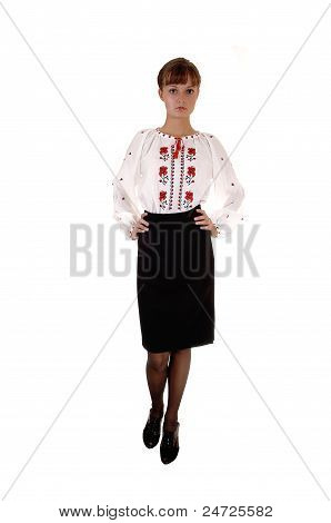 Girl In White Blouse And Skirt.