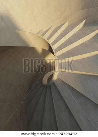 Abstract Interior With Spiral Staircase