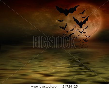 Bat flying over full moon halloween background