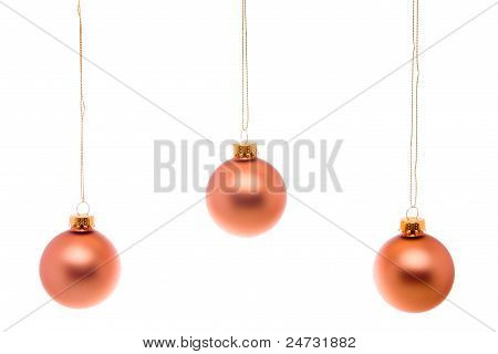 Pastel Christmas Ball Pink Salmon Hanging Isolated