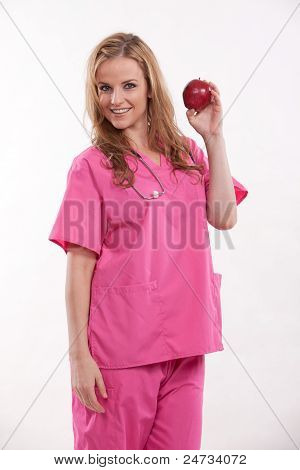 Attractive Caucasian Blonde Healthcare Worker Nurse Doctor