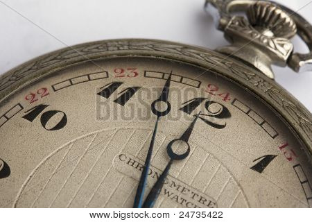 Antique Pocket Watch extreme close-up of number 12, noon, midnight