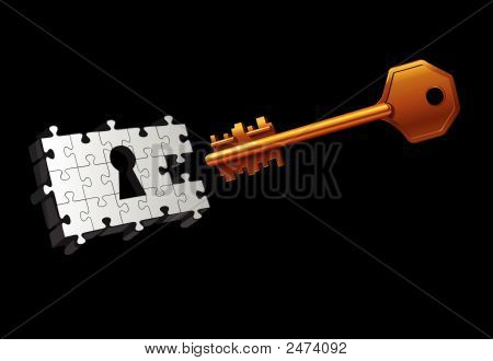 Vector Key Moving To Unlock The Door