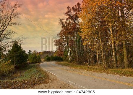 Rural Road Under Morning Skies