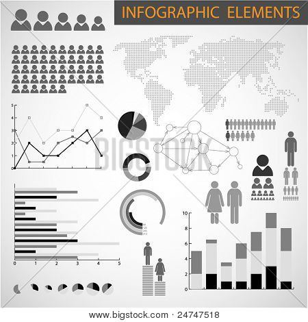 Big Vector Black and white set of Infographic elements for your documents