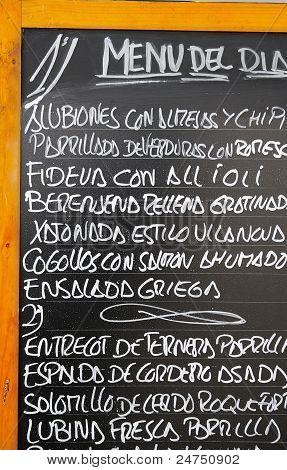 tapas menu
