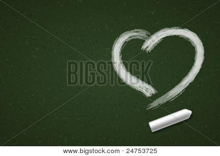Hand drawn Heart shape on blackboard. Vector background eps 10.