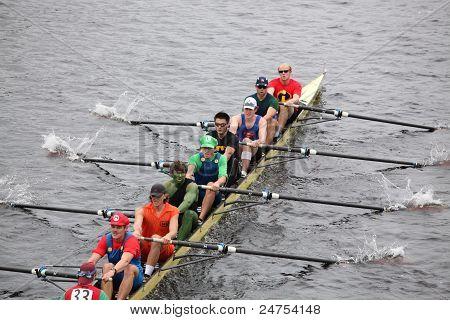 Harvard races in the Head of Charles Regatta
