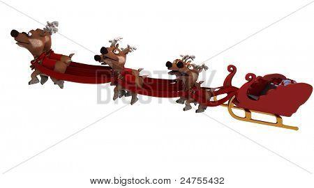Robot con trineo y renos