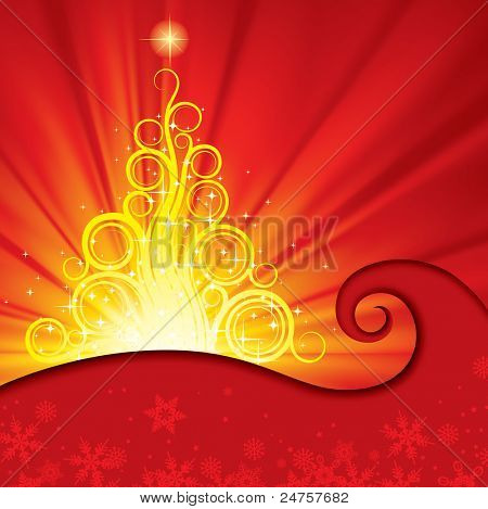 Raster version of vector red xmas card with a decorative christmas tree on the red shining background