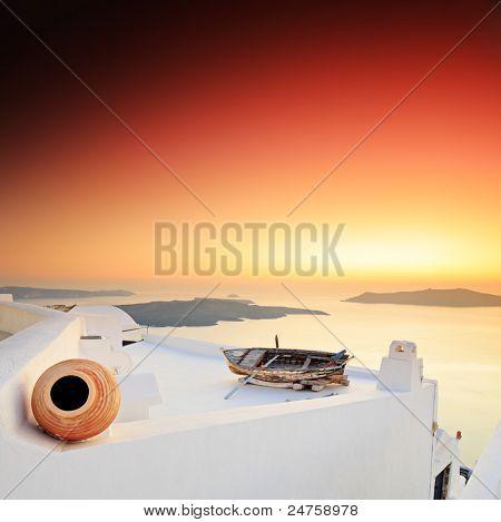 A sunset over Santorini island, Greece