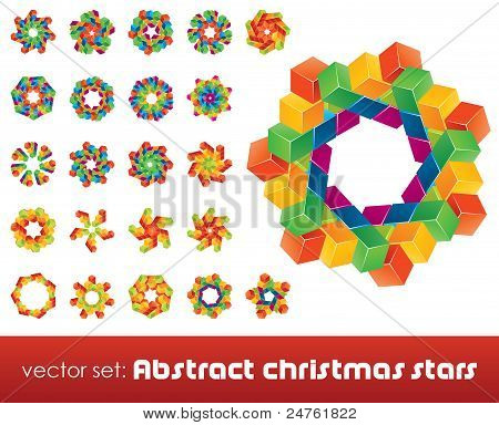 Collection of impossible christmas snowflakes.