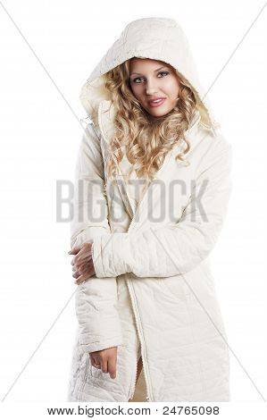 Girl With White Hood, In Winking Pose