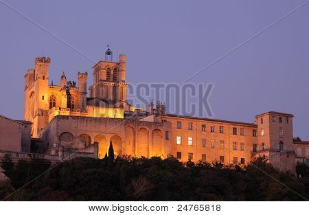 Beziers Cathedral At Night. France