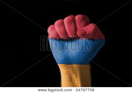 Fist Painted In Colors Of Armenia Flag