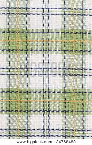 Green checked dish towel background