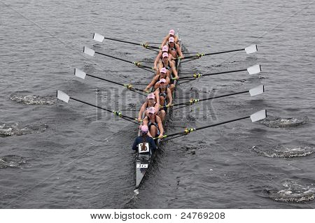 University of Rhode Island (URI) women's Eights races in the Head of Charles Regatta