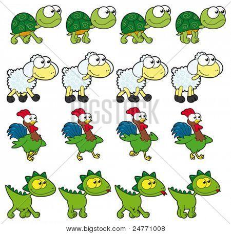 Tier, geh-Animationen. Vector Cartoon und isoliert Zeichen. Sie können vier Frames in Schleife,