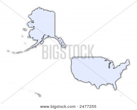 United States Light Blue Map With Shadow