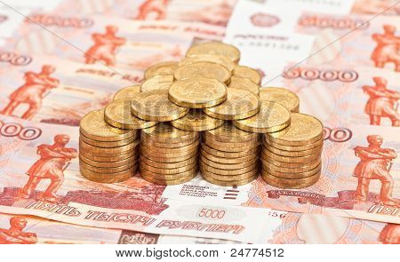Russian rubles banknotes and coins.