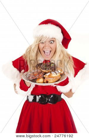 Mrs Santa Donuts Excited