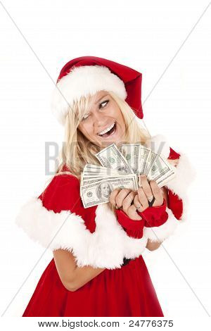 Mrs Santa Money Laugh
