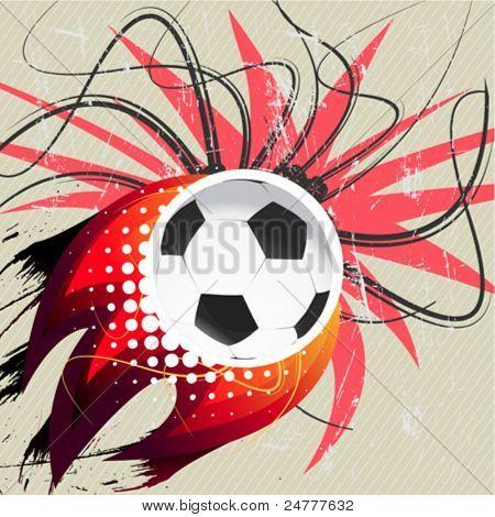 Flying soccer ball.