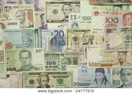 World currencies horizontal
