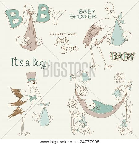 Vintage Baby Boy Shower And Arrival Doodles Set - Design Elements For Scrapbook, Invitation, Cards