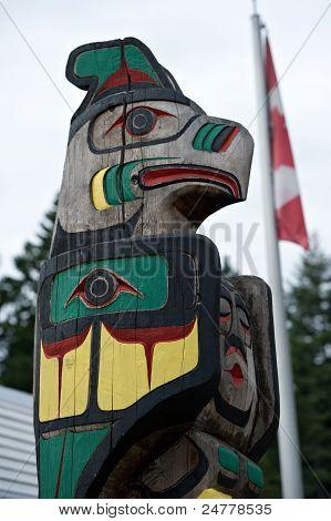 Totem Pole Detail Duncana, British Columbia, Canada