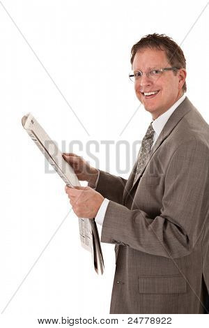 Happy Looking Businessman Reading Newspaper on Isolated White Background