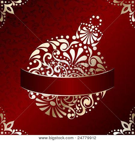 Elegant Christmas card with filigree ornament