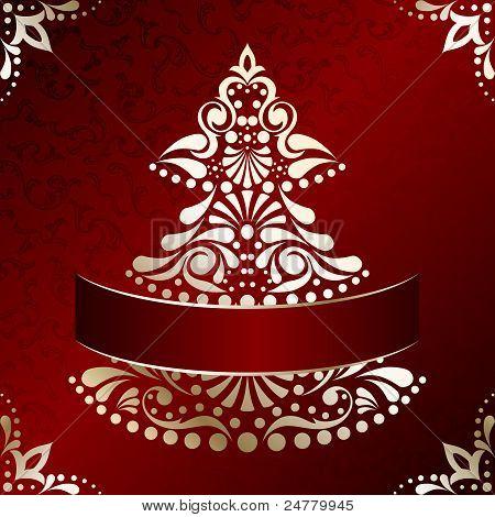 Elegant Christmas card with Christmas tree