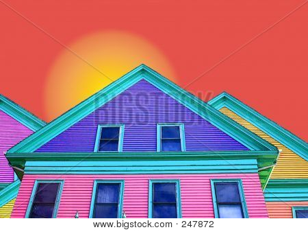 Colorful House Orange Sky
