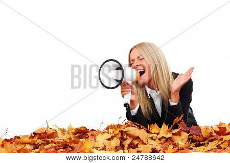 autumn businesswoman with megaphone studio isolated in studio
