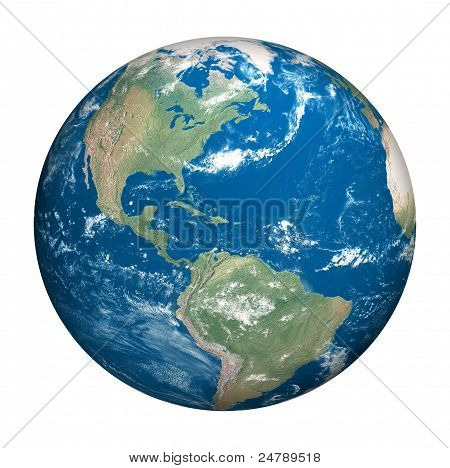 Planet Earth White Background with clipping path