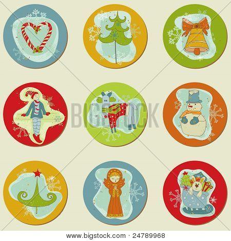 Weihnachten Stickes - Design-Elemente für Scrapbook, Einladung, Grüße