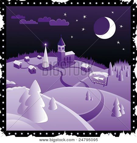 Purple Christmas landscape with little town, arrow sign, moon, tree, snow, road