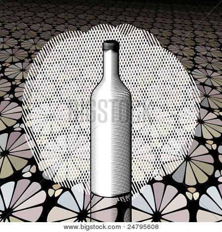 Vector Gravure bottle with brown background