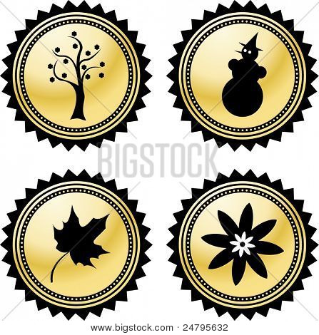 Vector icons of 4 Seasons - Summer, Spring, Autumn, Winter