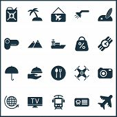 Journey Icons Set With Quadrupter, The Mountains, Parasol And Other Vessel Elements. Isolated Vector poster