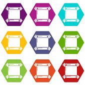 Old Scroll Parchment Icons 9 Set Coloful Isolated On White For Web poster