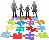 picture of psychological  - Puzzle pieces symbols of problems facing broken family and solution - JPG