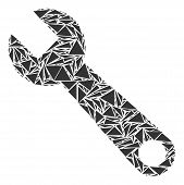 Wrench Mosaic Of Triangle Items In Different Sizes And Shapes. Vector Triangles Are Arranged Into Wr poster