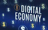 Digital Economy With Dollar Icon Floating On Navy Blue Tech Background,digital Economy Technology. poster