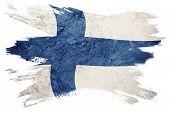 Grunge Finland Flag. Finland Flag With Grunge Texture. Brush Stroke. poster