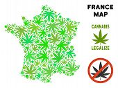 Royalty Free Marijuana France Map Composition Of Weed Leaves. Template For Narcotic Addiction Campai poster