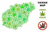 Royalty Free Marijuana Hainan Island Map Collage Of Weed Leaves. Template For Narcotic Addiction Cam poster